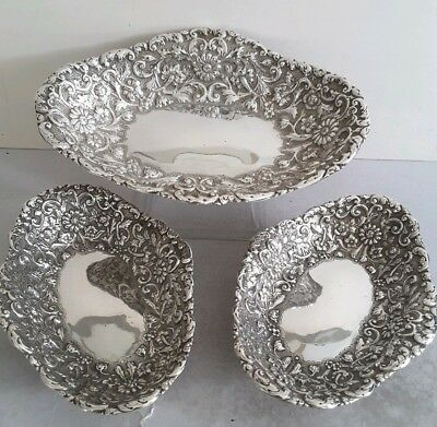 Quality Suite 3 Antique Solid Silver Embossed Fruit Dishes.  860Gms    Lon. 1886
