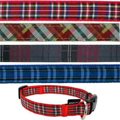 B&C Tartan Check Plaid Soft Touch Adjustable Dog Collar & Long Leads