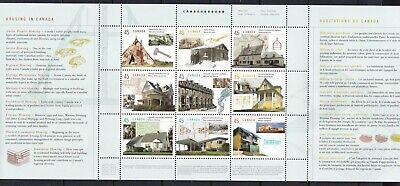 CANADA 1998 HOUSING IN CANADA #s 1755, PANE OF 9 45 cent STAMPS WITH TABS MNH