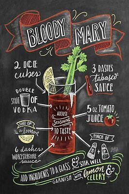 Cocktail Recipe Bloody Mary Vintage Retro style Metal Sign, chalkboard, pub bar