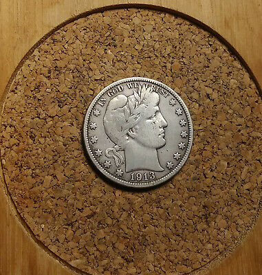 1913 P 50C Barber Half  Circulated  90 % Silver US Coin VG/F BH287 VERY RARE