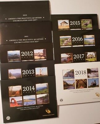 2010-2018 P & D US Mint America the Beautiful Uncirculated 10 Coin Quarter Sets