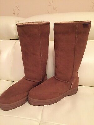 Ladies Canterbury Sheepskin Chestnut Suede Boots Size 5 Immaculate