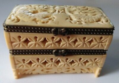 Hand carved fine natural bone embossed copper edging double layer jewelry box