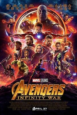 """Marvel AVENGERS INFINITY WAR 2018 Original DS 2 Sided 27x40"""" US Movie Poster"""