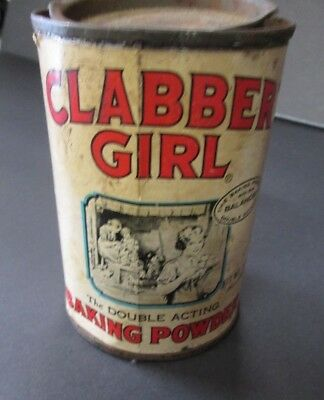 A Vintage Clabber Girl Double Acting Baking Powder Tin. 10 Oz. Pry Lid.