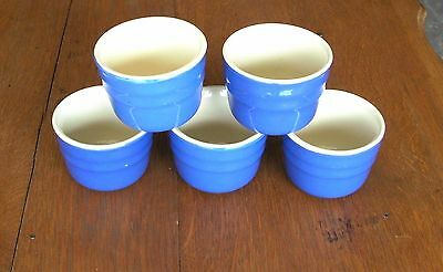 Set of 5 Vintage Oxford Stoneware Blue Glazed Crockery Custard Cups Ramekins