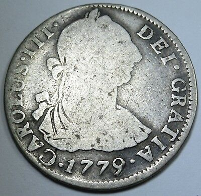 1779 PR Spanish Silver 2 Reales Piece of 8 Real Colonial Pirate Treasure Coin