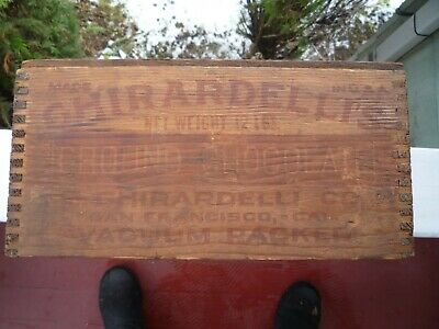 Antique WOOD GHIRARDELLI'S CHOCOLATE 12 lb.  crate box dovetail  OLD GROCERY