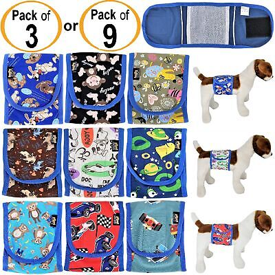 PACK 3 or 9 Dog Diapers Male Boy BELLY BAND Wrap Reusable Washable For SMALL Pet