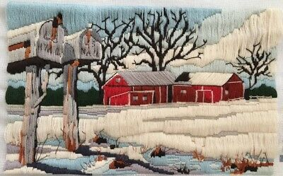 Winter Delivery Dimensions Needlepoint Rural Barns Mailbox Vintage Completed
