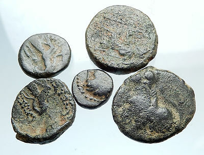 AUTHENTIC Ancient 400BC-250AD GREEK - 5 COINS Group Lot KIT Collection i74920