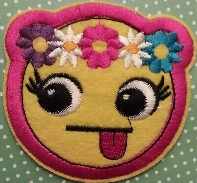 """Lg. Emoji Patch, """"Tongue Out"""" w/ flowers, Self-Adhesive or Sew on, New!"""