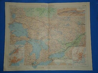 Vintage 1957 CANADA CENTRAL Map ~ Old Antique Original Atlas Map