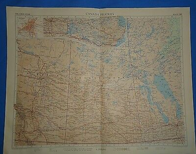 Vintage 1957 CANADA PRAIRIES Map ~ Old Antique Original Atlas Map