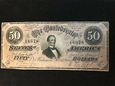 1864 $50 Dollar Confederate States Currency Civil War Note Old Paper Money