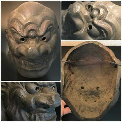 Very Rare Good condition Antique Japanese Face Mask lacquer urushi wooden X7