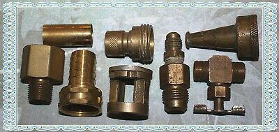 Eight Brass Fittings, Nozzles, and Parts