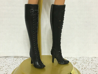 Barbie Model Muse Fashion Fever Fashionistas Black High Heel Lace Up Boots Shoes