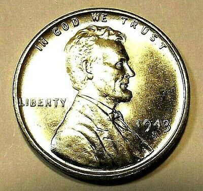 "1943-S Lincoln Wheat 1c-UNCIRCULATED CHOICE BU/STEEL/ZINC""ORIGINAL MINT LUSTER"""