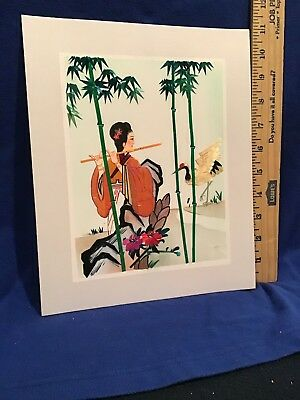 Vintage Chinese Lady Flute  Artwork Hand Cut Painted Wheat Stalk on Silk
