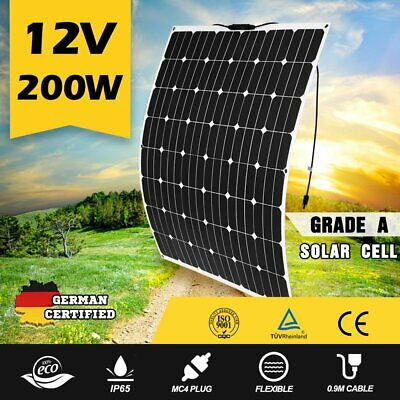 200W Efficient Solar Car Boat Motor Power Solar Panel Battery Charger Outdoor AS