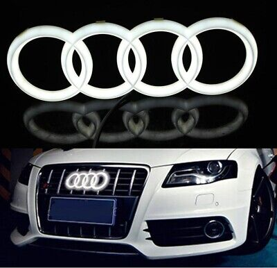 Audi A1 A3 A5 Quattro A6 A7 Q5 Q7 Chrome WHITE LED Light Front Grill Emblem 28cm
