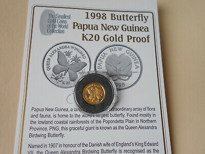 Papua New Guinea 1998 20 Kina Butterfly Gold Proof Coin 1.224 Grams .999 Fine Au