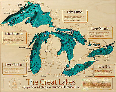A3 Poster - Map of the Great Lakes America (Picture Superior Eire Michigan Art)