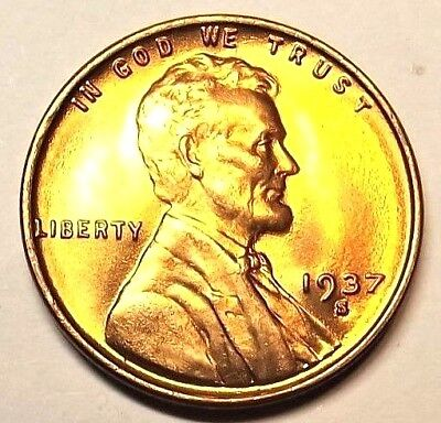 """1937-S Lincoln Wheat 1c""""Beautiful Original Mint Luster""""GEM/BU/RED from OBW roll."""