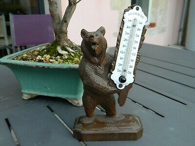 Thermometre Emaille Ours Bois Sculpte Foret Noire Black Forest  Geneve Bear Wood