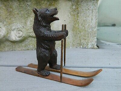 Bel Ours Skieur Bois Sculpte Foret Noire Black Forest  Bear Wood Carved