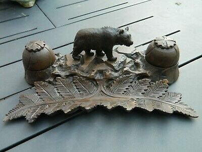Encrier Porte Plume Ours Bois Sculpte Foret Noire Black Forest  Bear Wood Carved