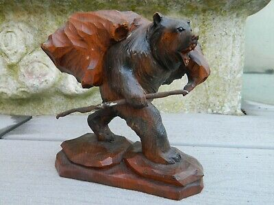 Ours Bois Sculpte Foret Noire Black Forest Portant Un Fardeau Bear Wood Carved
