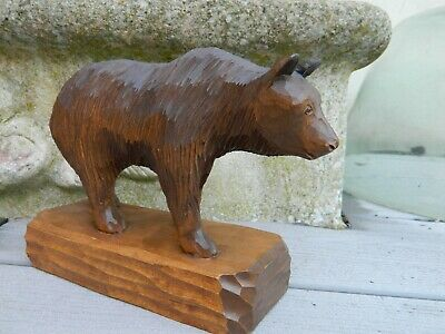 Grand  Ours Bois Sculpte Foret Noire Black Forest Marchant Bear Wood Carved
