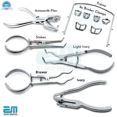Dental Rubber Dam Instruments Set of Brewer Pliers Light Ivory Punch Forceps CE