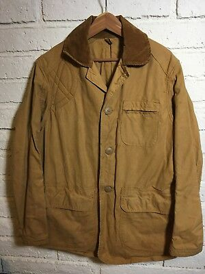 Vtg 50s ALL COTTON CANVAS HUNTING Jacket CORD ORIGINAL HIGGINS workwear USA L