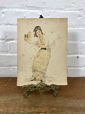 Antique Burmese Dancer Watercolour Asian Oriental Painting Vintage Signed Art