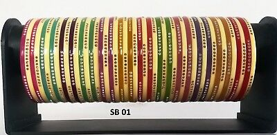 INDIAN MULTICOLOR BANGLES Bridal Wedding Jewelry Traditional Choora  Bracelet Set