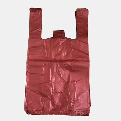 RED Strong Plastic Vest Carrier Bags T Shirt Large and Jumbo 20mu Large and Jumb