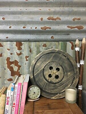 Large Wooden Button Wall or Shelf Decoration Gift Dark