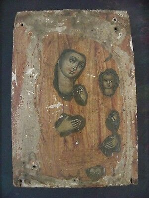 Painted Madonna Framed Icon Remnant on Wood Board- Italian? Grand Tour Style