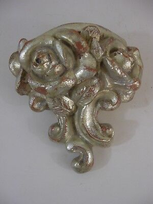 Ornate Silver Gilt Wall Pocket Shelf Roses French English Italy Grand Tour Style