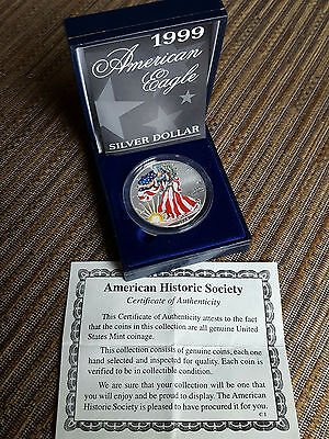 Silver Dollar American Eagle Colorized Coin .999 Fine Silver 1 Troy Ounce 1999