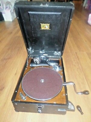 HIS MASTER'S VOICE PORTABLE GRAMOPHONE  1930s