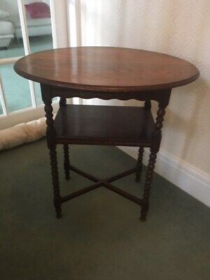 Antique Solid Oak Table With Barley Twist Legs