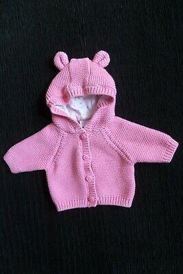 Baby clothes GIRL premature/tiny<7.5lbs/3.4kg pink,lined-hood,cardigan SEE SHOP