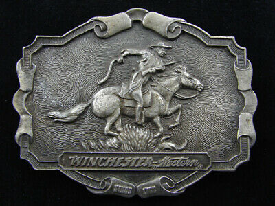 RE03163 VINTAGE 1970s **WINCHESTER WESTERN** GUN FIREARM BELT BUCKLE