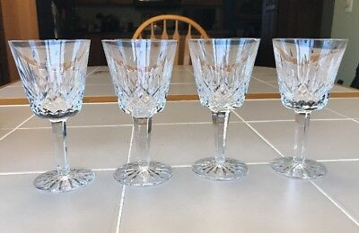 """Lismore Waterford Crystal 6 ounce Wine Glass 5 7/8"""" Set of 4 Signed Chipped"""