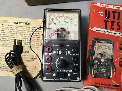 Vintage Superior Model 70 Utility Tester with Book, Box & Leads  EP108
